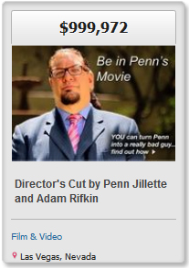 One of the current campaigns on the FundAnything homepage include Penn from Penn and Teller's new movie