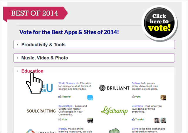 Now that we've created the best of 2014 - the top sites and apps, we are leaving fate in your hands.
