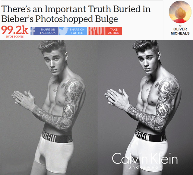 Even RYOT articles that are seemingly unconnected to any social issue — such as one that reveals the Photoshop job on Justin Bieber's new Calvin Klein ads — have a button that allows readers to take action