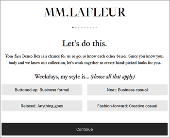 MM.LaFleur carries only women's clothing and places an emphasis on professional work clothes.