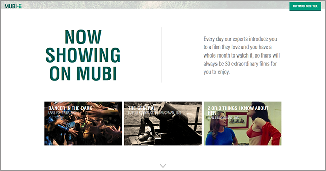Potential subscribers can try Mubi for a 7-day free trial by logging in with Facebook or email