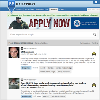 Rally Point is a social network designed for active service members and veterans of the U.S. military.