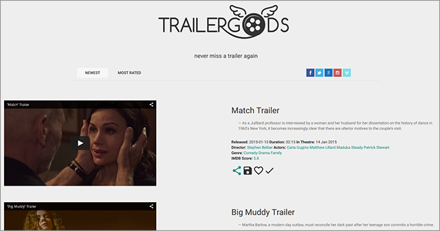 Trailer Gods also includes a few key bits of additional information about each trailer.