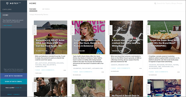 Notey is a blog discovery site that helps you find results based on your specific interests.