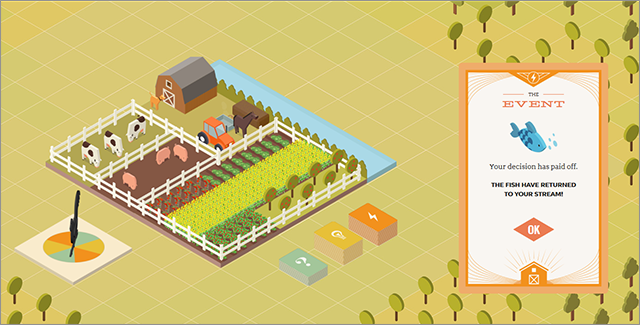 The Family Farmer is the interactive game portion of a documentary film that presents you with a series of choices along the path of creating and managing your own virtual farm.