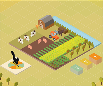 After all of your selections are made, The Family Farmer plays out like a virtual board game.