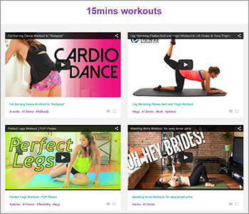 YouFitness has a simple layout, displaying ten embedded videos on each page. The site lets you filter the videos by type — pilates, cardio, core, resistance, flexibility, abs, arm, legs, butt, full body, upper body, and yoga.