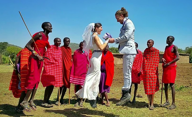 Couple gets married around the world