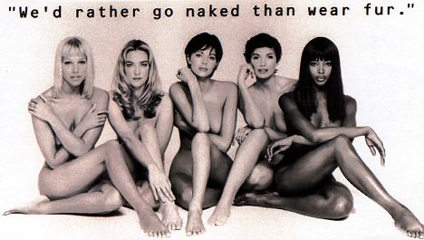 Naomi Campbell and other models, PETA